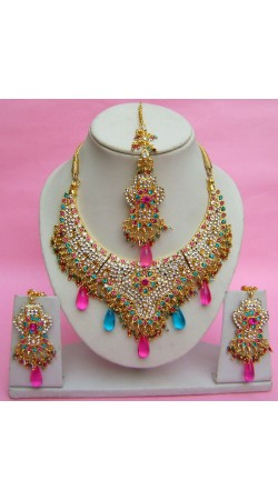 N27095 Semi Bridal Artificial Jewellery Necklace Set with Tika