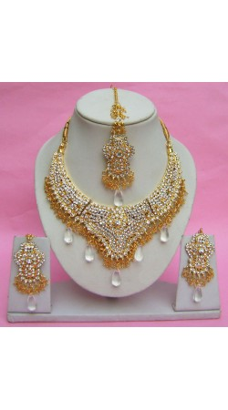 N27195 Semi Bridal Artificial Jewellery Necklace Set with Tika