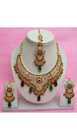 N27295 Semi Bridal Artificial Jewellery Necklace Set with Tika
