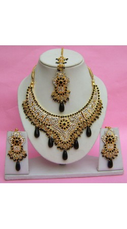 N27395 Semi Bridal Artificial Jewellery Necklace Set with Tika