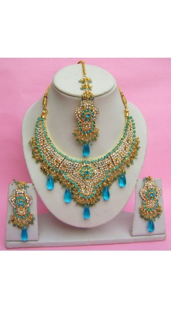 N27495 Semi Bridal Artificial Jewellery Necklace Set with Tika