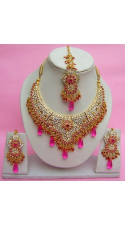 N27595 Semi Bridal Artificial Jewellery Necklace Set with Tika