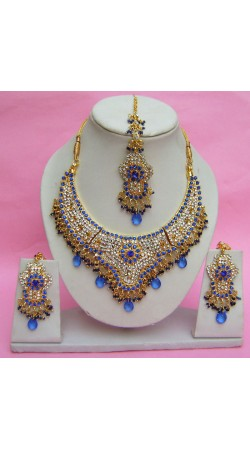 N27795 Semi Bridal Artificial Jewellery Necklace Set with Tika