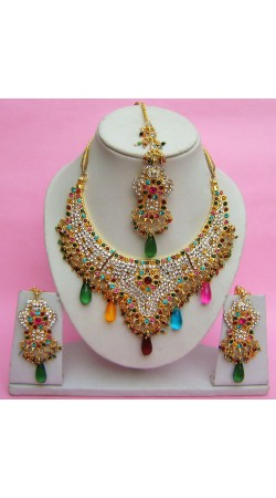 N27895 Semi Bridal Artificial Jewellery Necklace Set with Tika