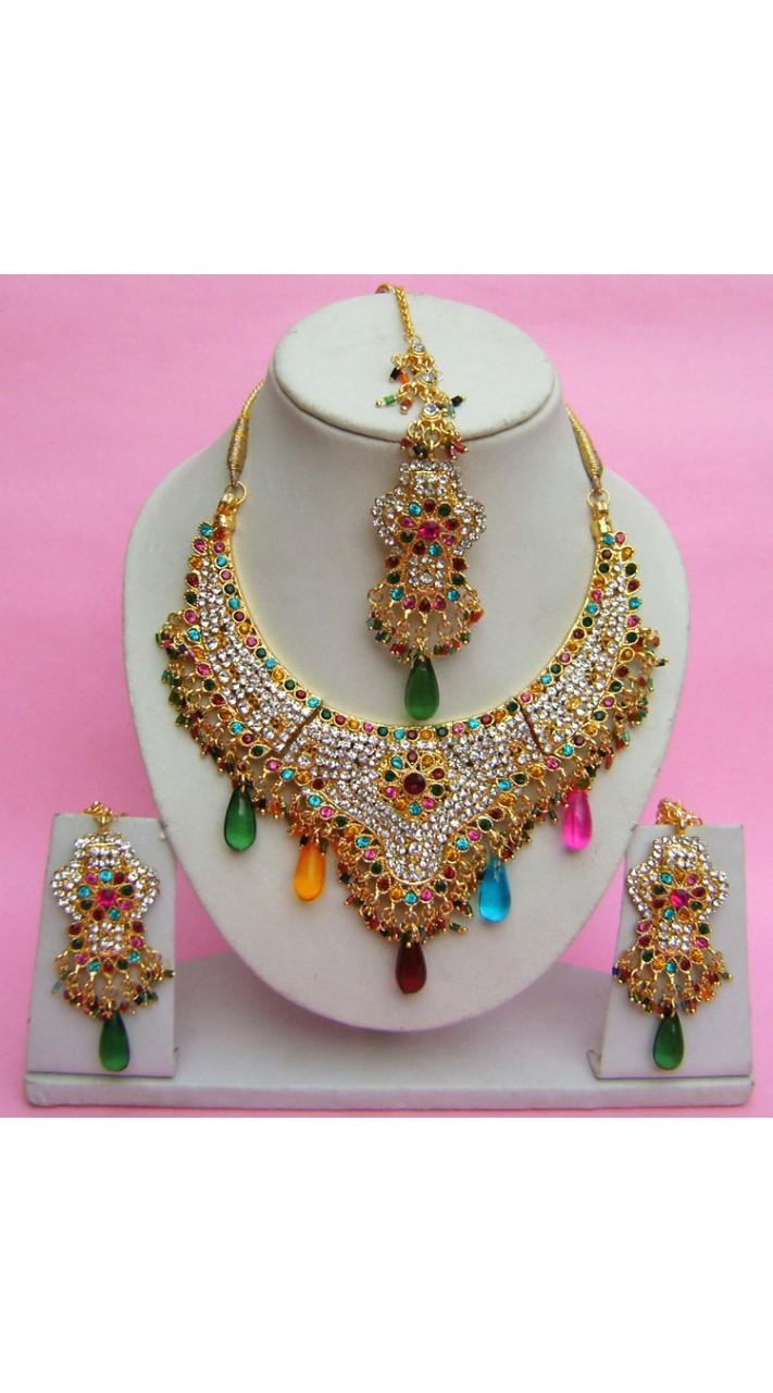 N27895 Semi Bridal Artificial Jewellery Necklace Set