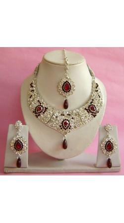 N28195 Jhoomar Style Necklace Set with Tika