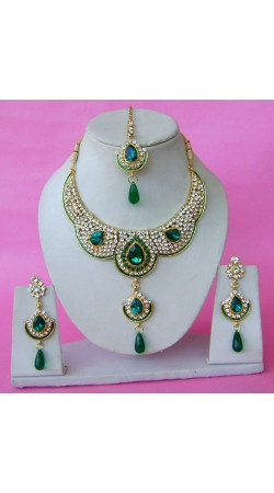 N28295 Double Pendant Necklace Set with Tika