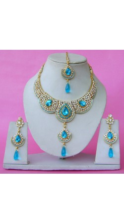 N28395 Double Pendant Necklace Set with Tika