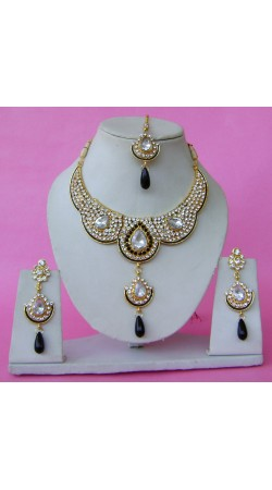 N28495 Double Pendant Necklace Set with Tika