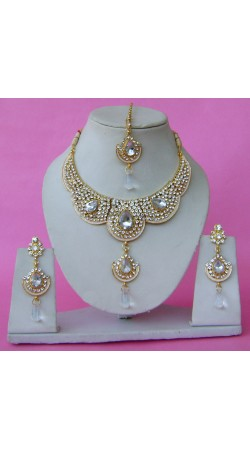 N28595 Double Pendant Necklace Set with Tika