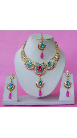 N28695 Double Pendant Necklace Set with Tika