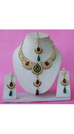 N28795 Double Pendant Necklace Set with Tika