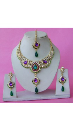 N28895 Double Pendant Necklace Set with Tika