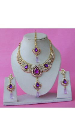 N28995 Double Pendant Necklace Set with Tika