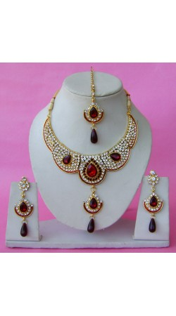 N29095 Double Pendant Necklace Set with Tika