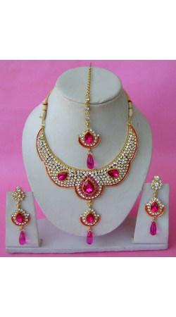 N29195 Double Pendant Necklace Set with Tika