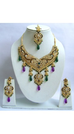 N29295 Double Pendant Necklace Set with Tika
