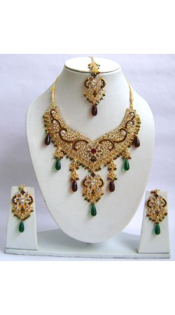 N29395 Double Pendant Necklace Set with Tika