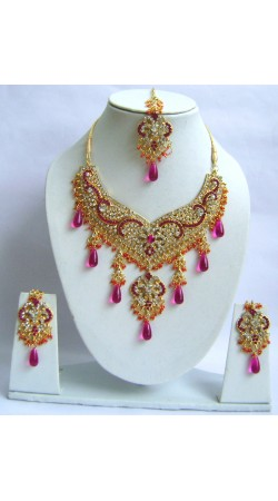 N29695 Double Pendant Necklace Set with Tika