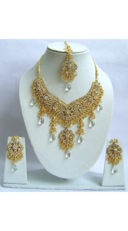 N29795 Double Pendant Necklace Set with Tika