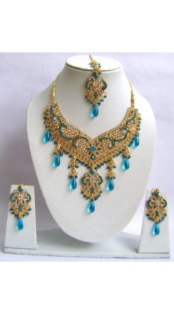 N29895 Double Pendant Necklace Set with Tika