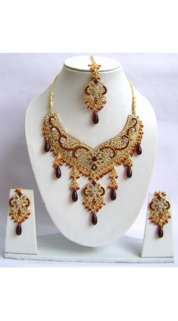 N29995 Double Pendant Necklace Set with Tika