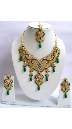 N30095 Double Pendant Necklace Set with Tika