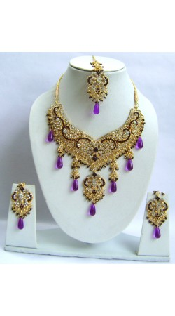 N30195 Double Pendant Necklace Set with Tika