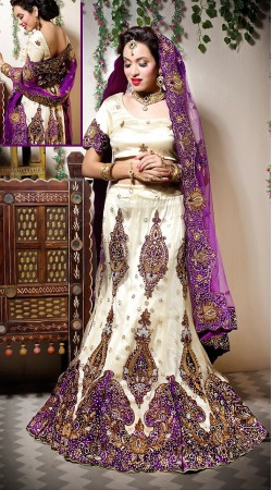 Nakshi Emboridered Cream Net Wedding Lehenga Choli LD002705
