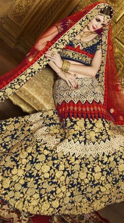 Navy Blue And Red Velvet Bridal Lehenga Choli 2WV550514