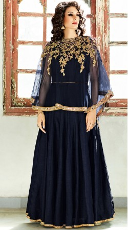 Navy Blue Silk Floor Length Anarkali With Embroidered Cape BP900431