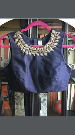Neck Embroidered Blue Premium Fabric Designer Blouse For Saree BP3109