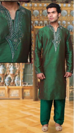 Neck Embroidered Classy Green Dupion Silk Kurta Pyjama DTKP933