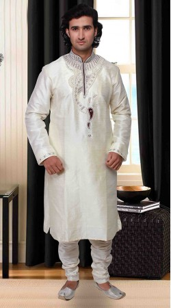Neck Embroidered Classy White Art Silk Kurta Pyjama DTKP1933