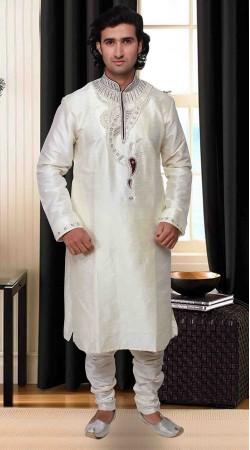 Neck Embroidered Classy White Art Silk Kurta Pyjama DTKP1933