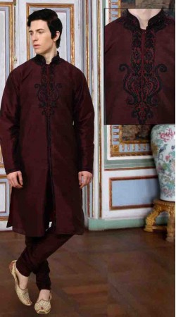 Neck Embroidered Maroon Art Dupion Silk Sherwani DT12338