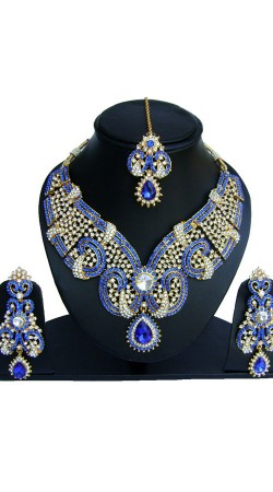 Necklace Set With Blue And White Stones Work NNP73202