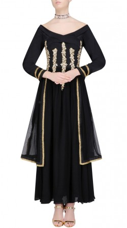 New Dimension Black Designer Gown Style Kameez With Hand Work SUMS26217