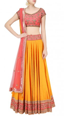 New Dimension Dark Yellow Silk Designer Lehenga Choli SUUDL24419