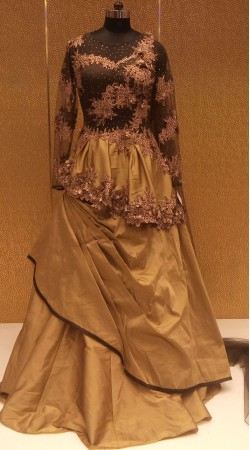 New Dimension Pure Silk Designer Three Layered Gown With attached Dupatta LD000506