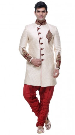 New Dimension White Brocade Mens Indo Western Sherwani With Hand Work GR133805