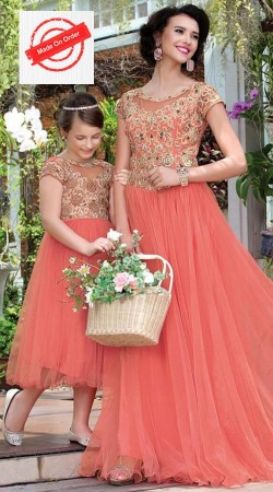 Nicely Crafted Peach Mother And Daughter Embroidered Gown BP1426