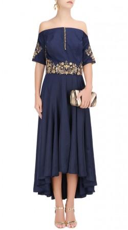 Off Shoulder Blue Silk Designer Asymmetrical Kameez SUUDS43620