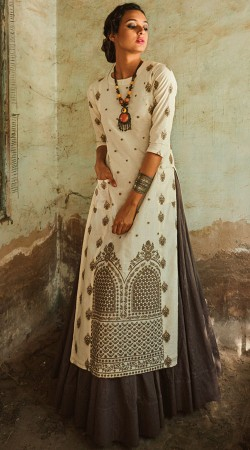 Off White Art Silk Readymade Long Choli Lehenga 2WVE21113
