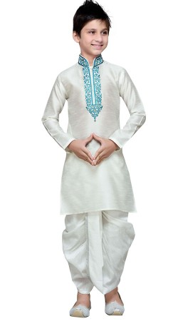 Off White Boy Kid Embroidery Work Kurta With Dhoti GR15412