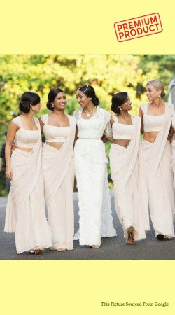 Off White Chiffon Bridesmaid Saree BP0741