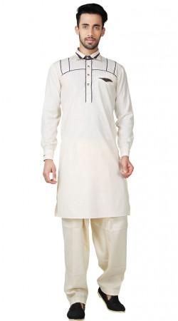 Off White Cotton Linen Men Pathani Suit GR152419
