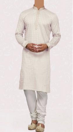 Off White Cotton Men Kurta With Churidar Pajama SISCW747