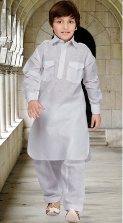 Off White Cotton Silk Boy Pathani Style Kurta Pajama RL1733504
