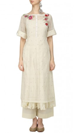 Off White Cotton Silk Palazzo Pant Suit SUUDS50730